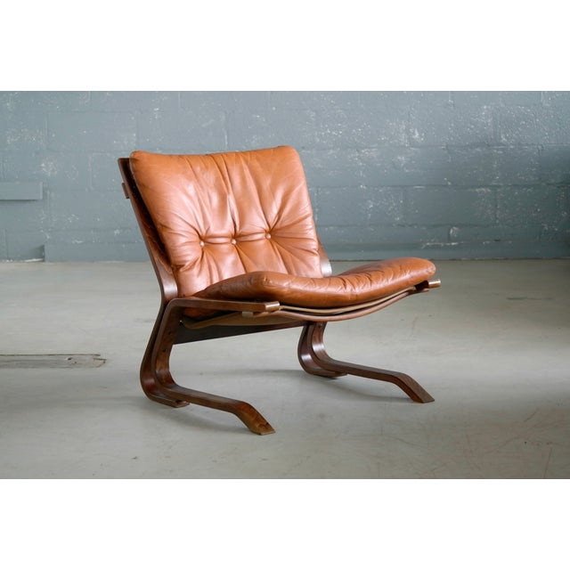1960s Pair of Mid-Century Norwegian Easy Chairs in Cognac Leather by Oddvin Rykken For Sale - Image 5 of 10