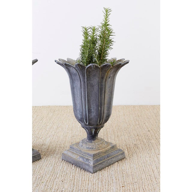 Early 20th Century Pair of French Neoclassical Tulip Form Garden Urn Planters For Sale - Image 5 of 13