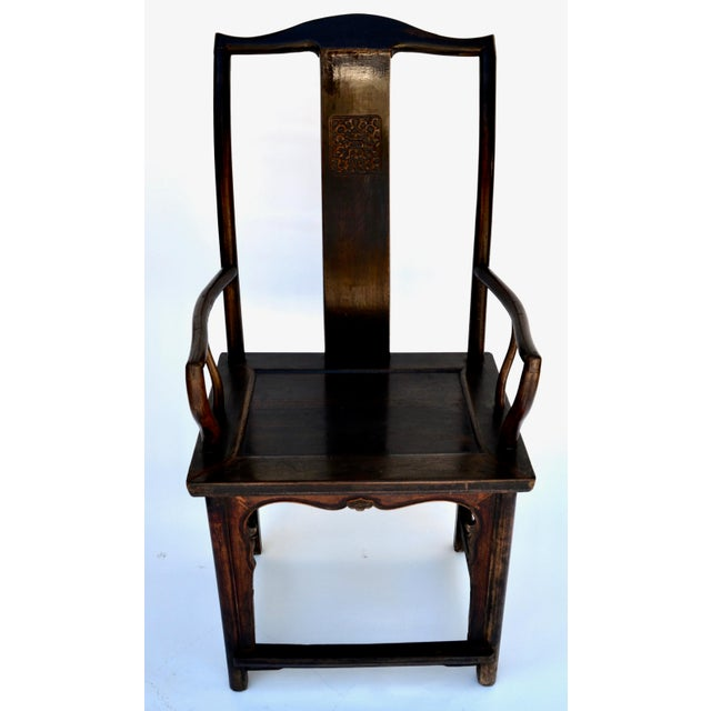 Antique Pair Tall Chinese Scholar Chairs For Sale - Image 9 of 12