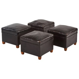 Leather Footstools - Set of 4 For Sale