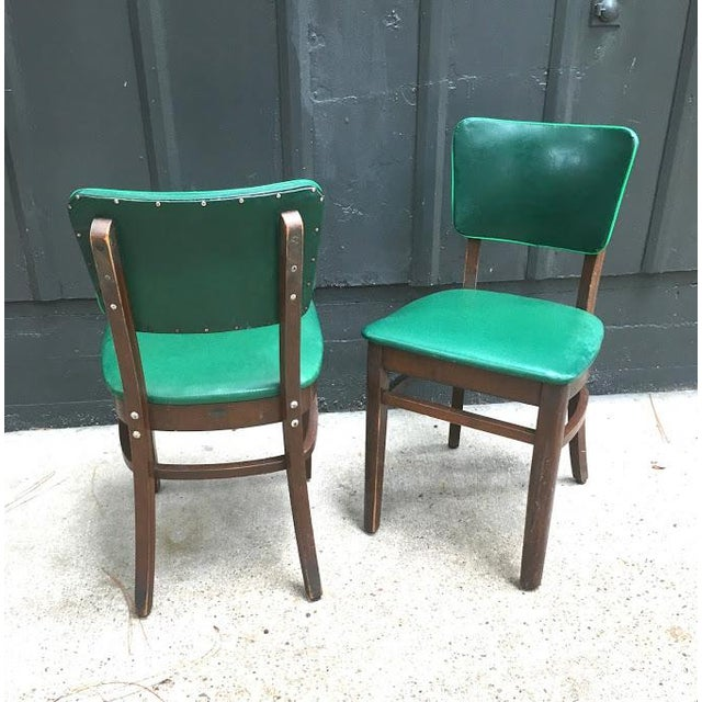 National Furniture Company 1930s Vintage Green Leather & Mahogany Dining Chairs- A Pair For Sale - Image 4 of 6