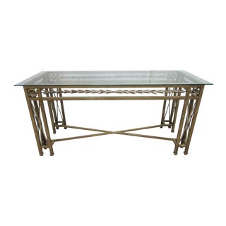 Wrought Iron Glass Top Console Table