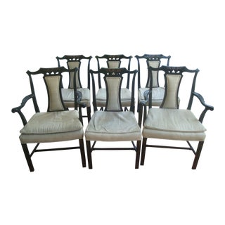 Chinese Chippendale Chinoiserie Black Lacquer Dining Chairs, Set of 6 For Sale
