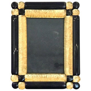 Cobalt and Gold Infused Murano Glass Picture Frame For Sale