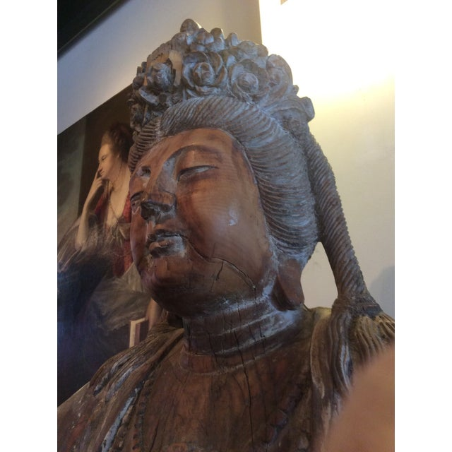 Carved Wood Bodhisattva For Sale - Image 10 of 10