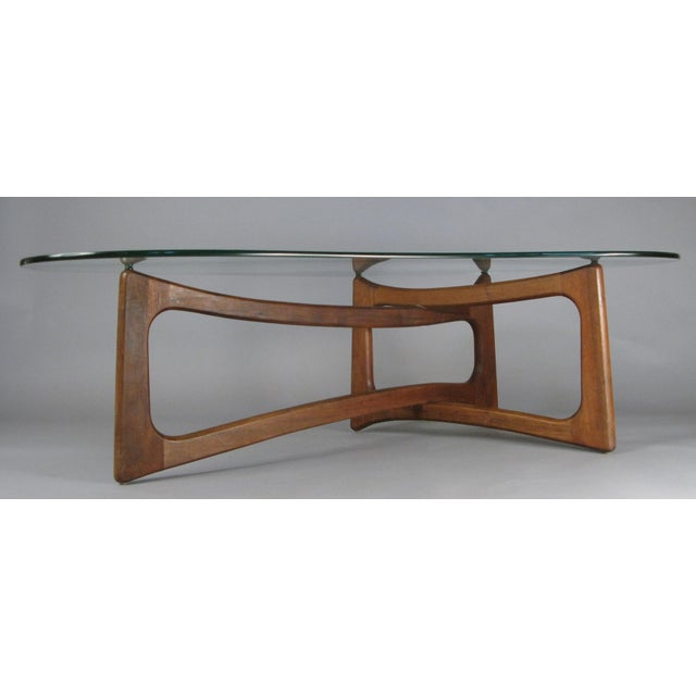 Wood Mid-Century Modern Sculptural Walnut and Glass Cocktail Table by Adrian Pearsall For Sale - Image 7 of 7