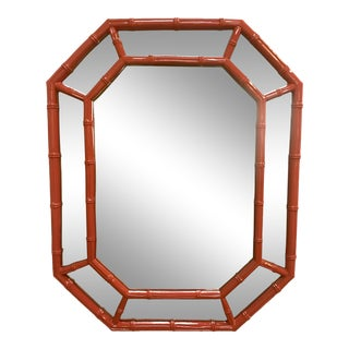 Vermillion Lacquered Faux Bamboo Mirror