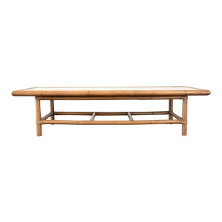 20th Century Hollywood Regency Bamboo and Marble Coffee Table For Sale
