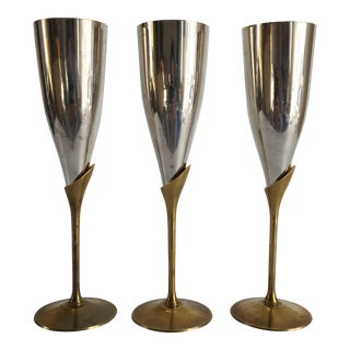 Art Deco Style Brass & Silverplate Champagne Flutes - Set of 3 For Sale