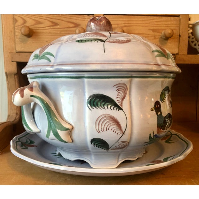 LONGCHAMP French Faience Hand-Painted Soup Tureen - BLUE DUCK (Retired Pattern) A rare item! This tureen comes in 3...