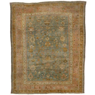 Late 19th Century Antique Turkish Oushak Rug - 11′2″ × 13′8″ For Sale