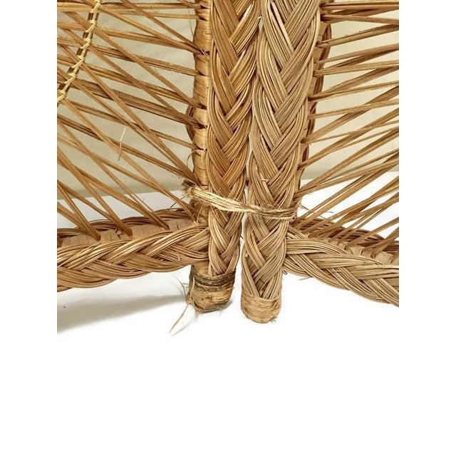 Rattan Mid Century Modern Rattan Folding Screen 3 Panel Room Divider Boho Headboard For Sale - Image 7 of 11