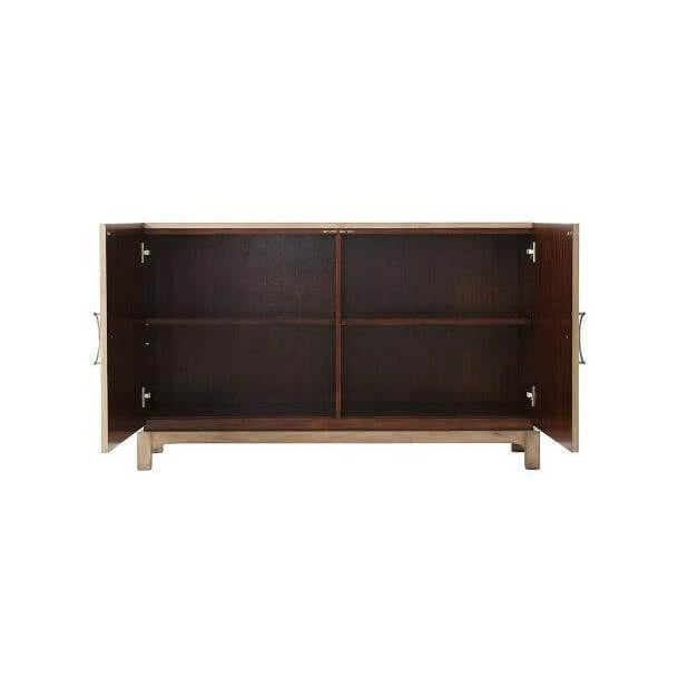 Mid Century Modern style cabinet with reclaimed Oak veneers and restored chestnut burl, an aged Oak finish with brass...