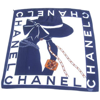 Chanel Silk Hand Rolled Graphic Print Scarf Circa 1990s For Sale