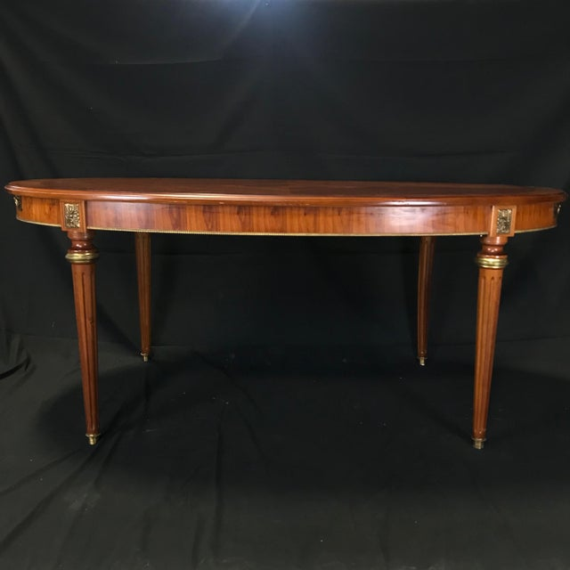 French Mid 19th Century Louis XVI Style Oval Fruitwood Dining Table For Sale - Image 3 of 12