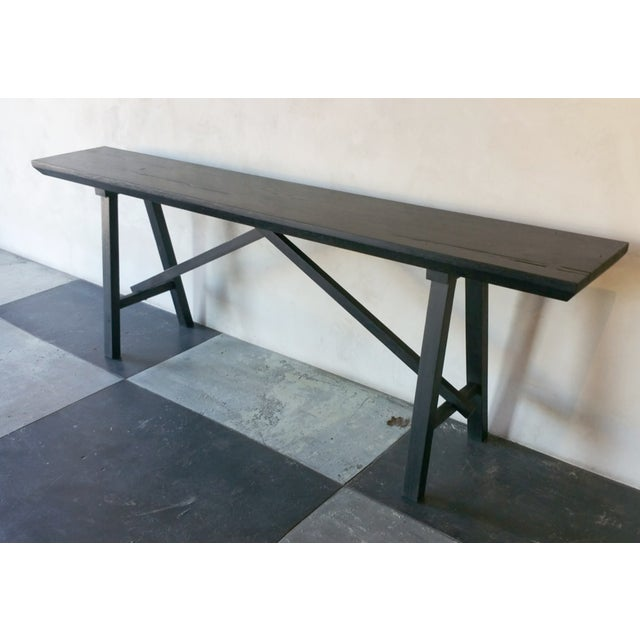 Antique French Oak trestle console table bench made by OZSHOP wood workers in Scottsdale, Arizona. The construction of the...
