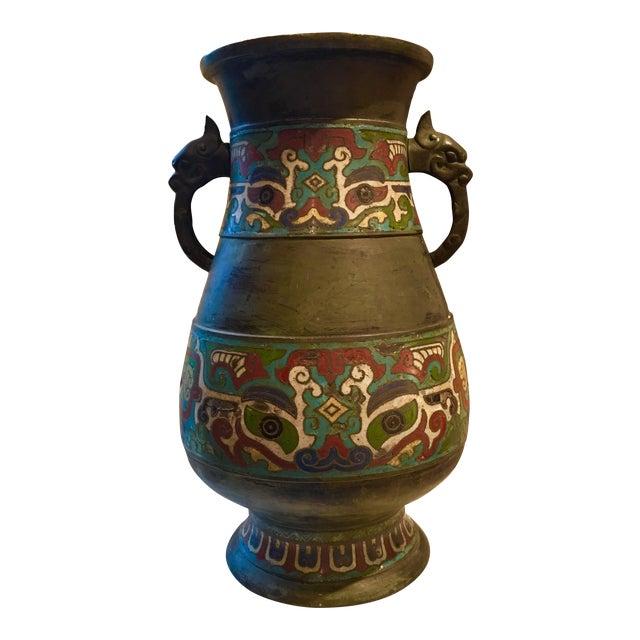 Antique Japanese Bronze Cloisonn Vase Chairish