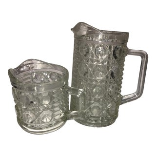 Antique Hobnail Glass Pitcher & Creamer - A Pair For Sale