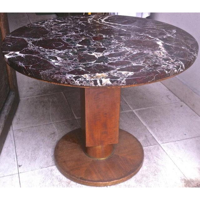 Jules Leleu signed coffee table with a superb marble top.