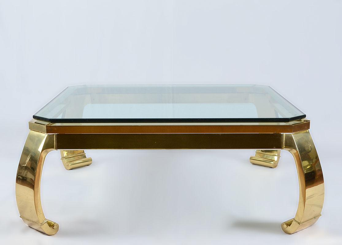 Karl Springer Inspired Brass Coffee Table For Master Craft   Image 2 Of 5