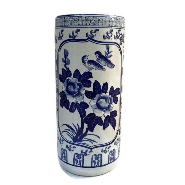 "Asian Vintage Chinoiserie Umbrella Stand Cobalt Blue White Chinese Porcelain 18"" For Sale - Image 3 of 11"