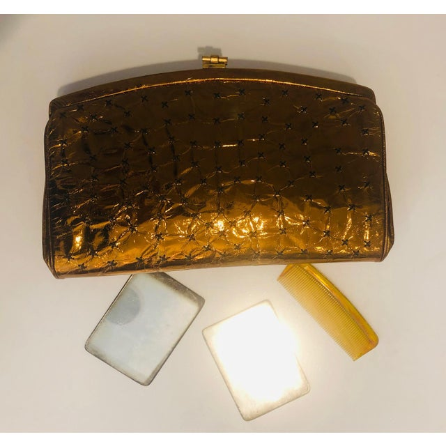 1960s 1960s Max Holzman Metallic Copper Leather Clutch For Sale - Image 5 of 11