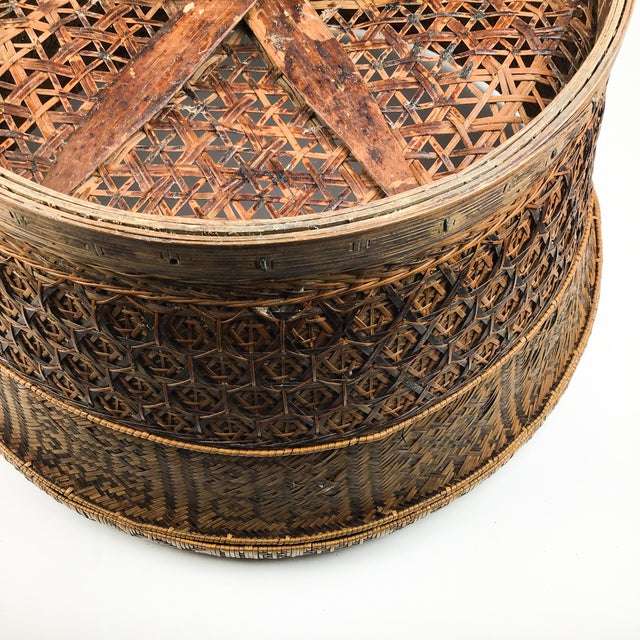 Chinese Antique Large Woven Empress Basket For Sale - Image 9 of 13