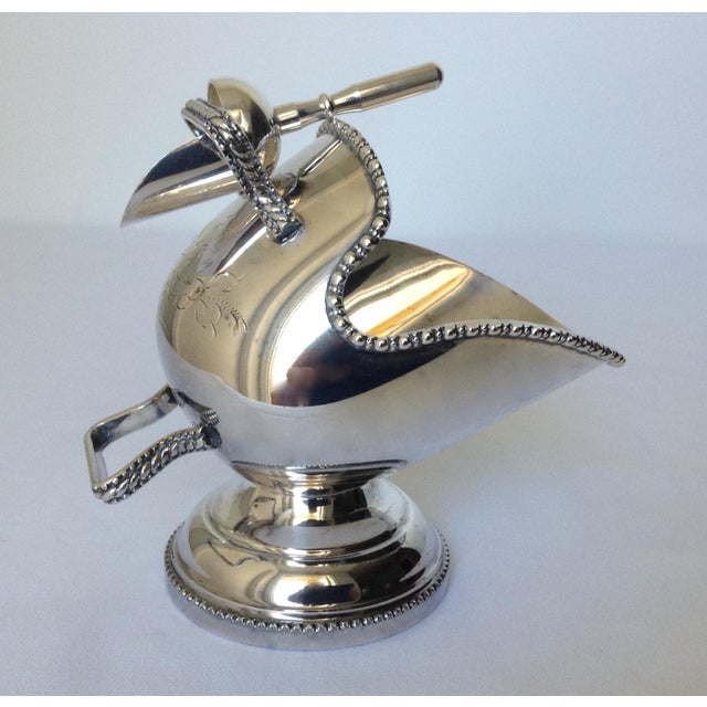 Vintage; English silver plate salt cellar with scoop. An often used and added utensil, server for any dinner entree...
