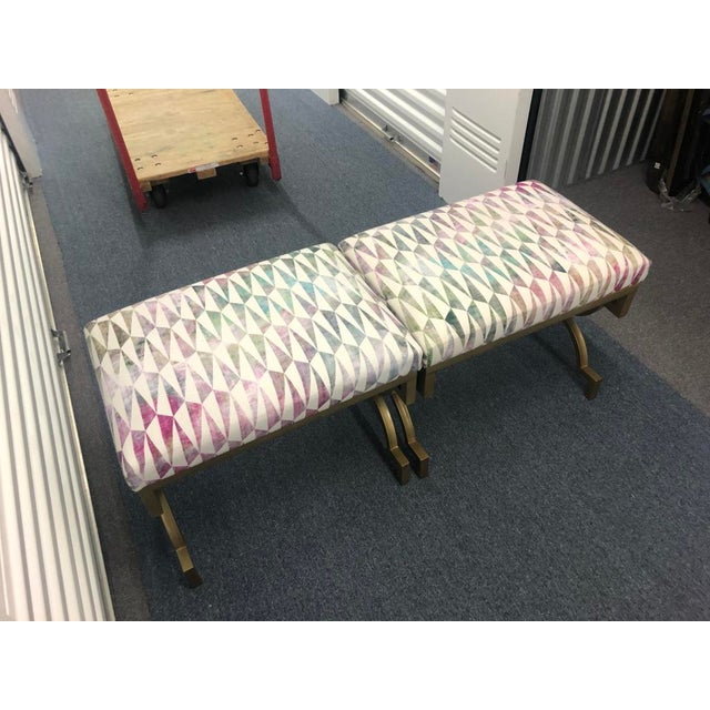 Textile Modern Scalamandre Upholstered Benches - a Pair For Sale - Image 7 of 7