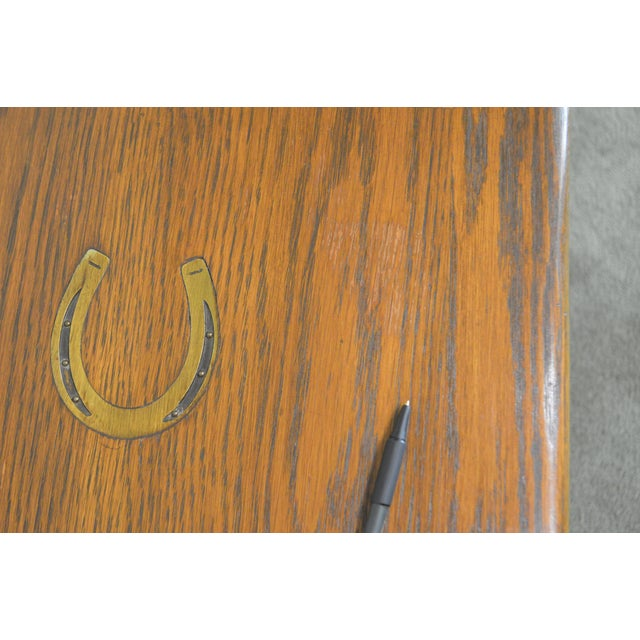 1960s Romweber Viking Oak Bookcase 2 Drawer Side Table With Brass Inlaid Horseshoes For Sale - Image 5 of 13