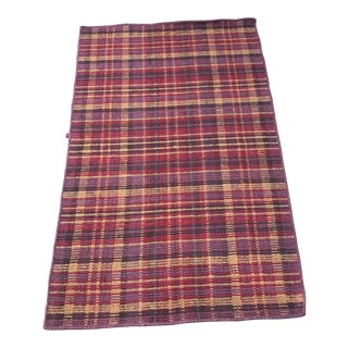 "Dhurrie Plaid Wool Rug - 2'7"" X 4'2"" For Sale"
