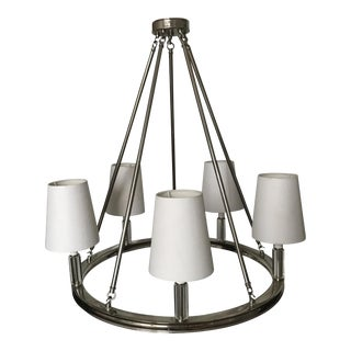 Modern Polished Nickel and Glass Chandelier For Sale