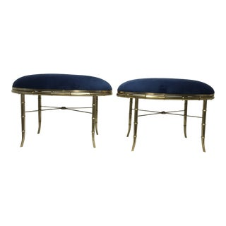 Mastercraft Italian Brass Benches, a Pair For Sale