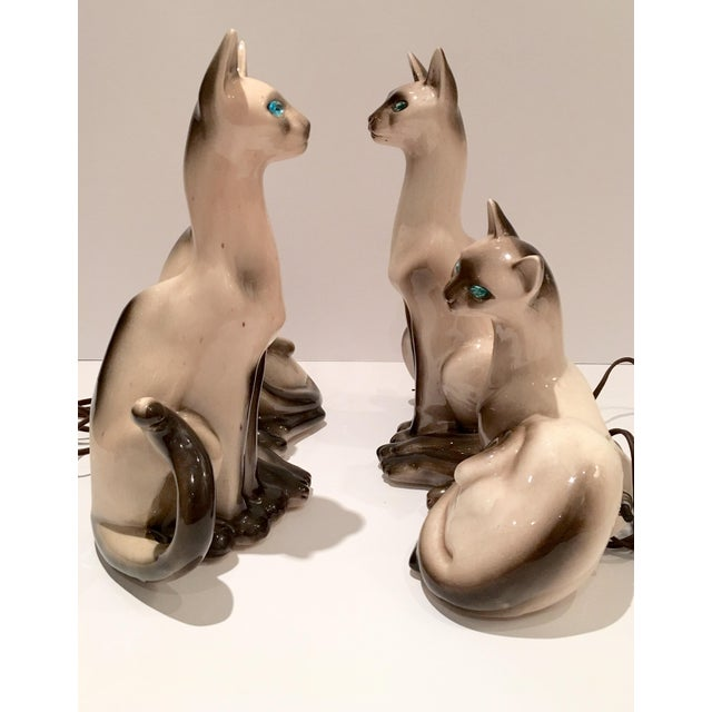 Vintage Siamese Twin Ceramic Cat Lamps - A Pair For Sale - Image 4 of 8
