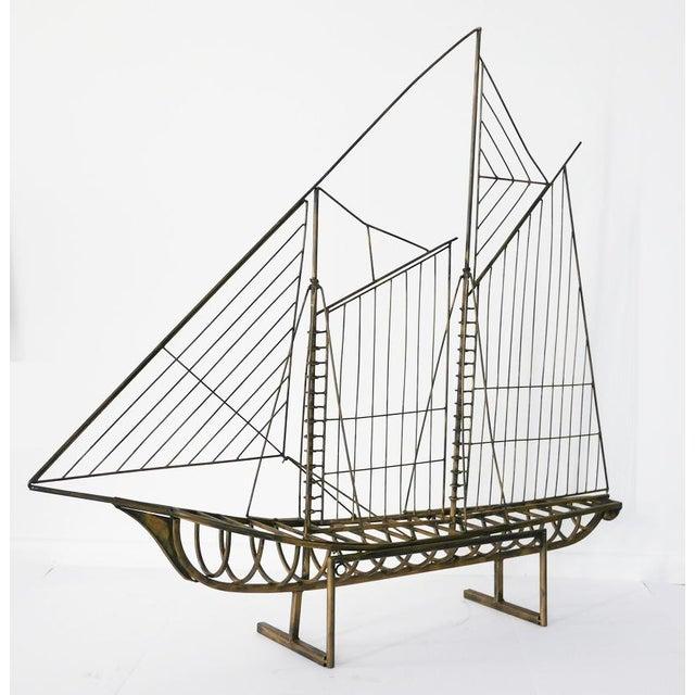 Curtis Jere Vintage Brass Skeleton Ship Sculpture Attributed to Curtis Jeré For Sale - Image 4 of 6