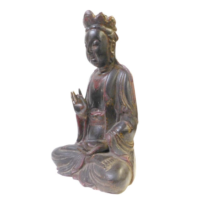 Red Black Lacquer Wood Sitting Kwan Yin Figure - Image 5 of 7