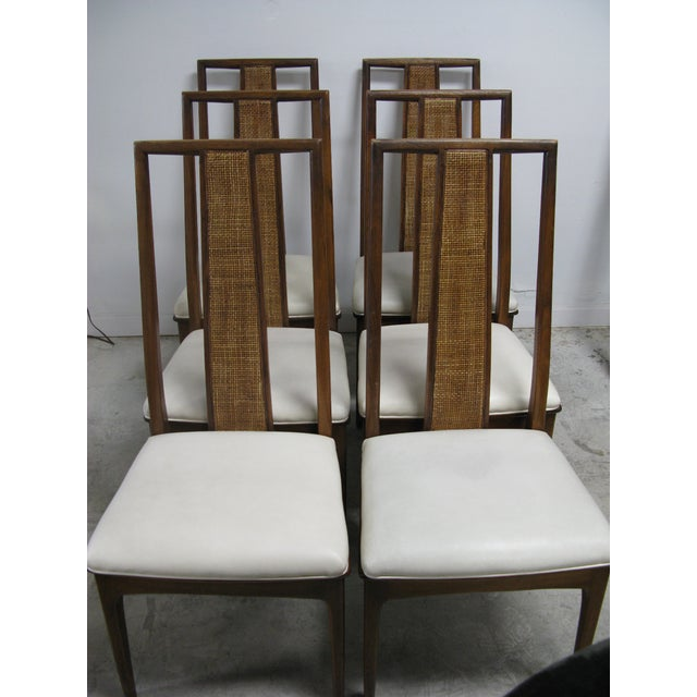 John Stuart Walnut and Cane Dining Chairs by John Stuart- Set of 6 For Sale - Image 4 of 11