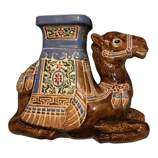 Hollywood Regency Glazed Ceramic Camel Garden Stool - 15 X 18 For Sale