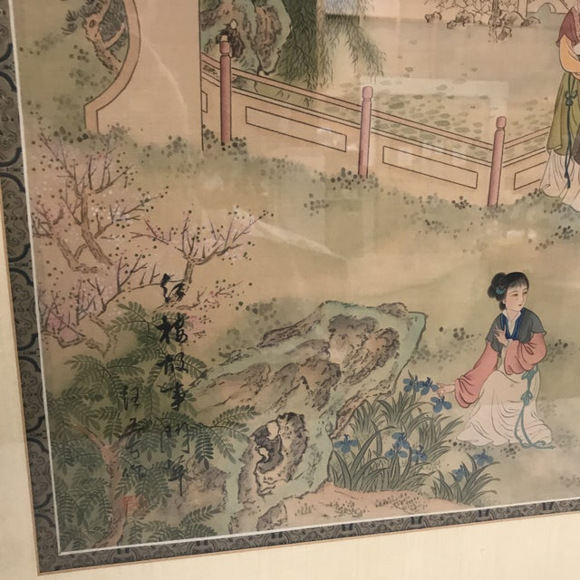 Chinese Pastoral Scene on Silk - Image 6 of 9