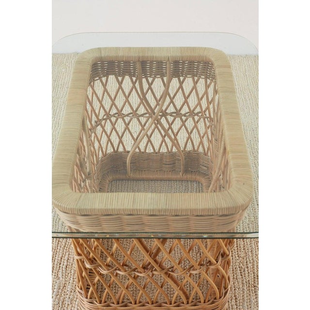 McGuire Organic Modern Rattan Wicker Coffee Cocktail Table For Sale - Image 10 of 13