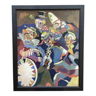 Midcentury Cubist Style / Folk Art Clown Painting For Sale
