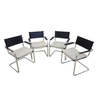 Set of Four Vintage Mid Century Cantilevered Mart Stam Style Designer Armchairs For Sale