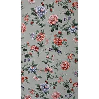 Sheffield Studios Wallpaper Floral Pattern Sbb659 on Light Aqua - 5 Double Rolls For Sale
