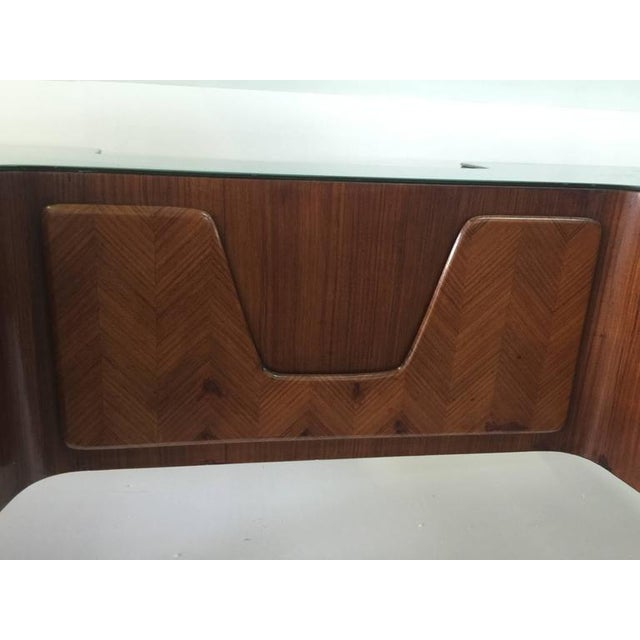 Rosewood Desk by Paolo Buffa with Floating Glass Top For Sale In Miami - Image 6 of 9