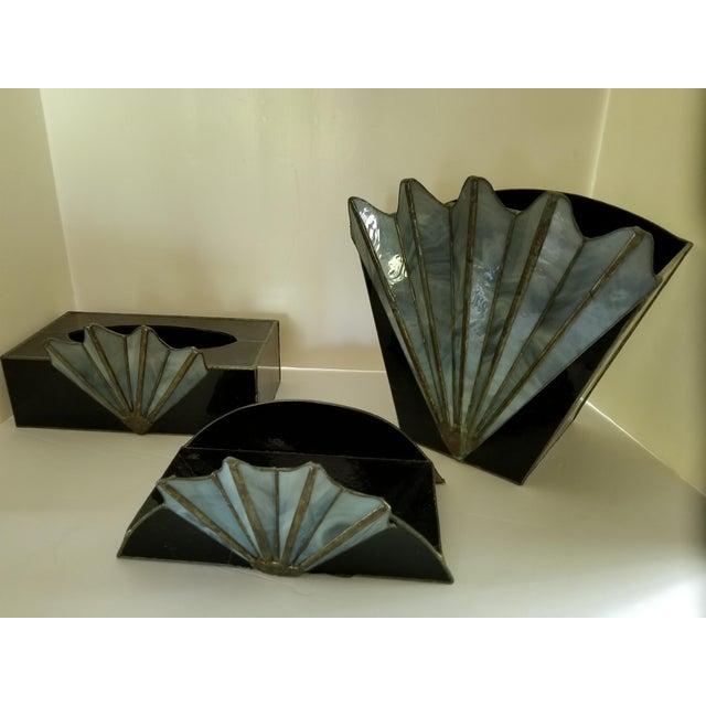 French Art Deco Black Glass Waste Basket - Set 3 For Sale - Image 4 of 12
