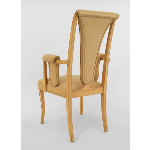 English Art Deco Maple High Back Dining Chairs- Set of 8 For Sale - Image 4 of 7