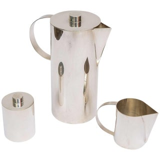 1980s Silver Plate Swid Powell for Calvin Klein Coffee Service - Set of 3 For Sale
