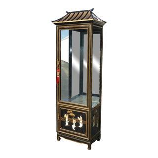 Vintage Asian Chinoiserie Pagoda Black Curio Cabinet Display Case W Storage