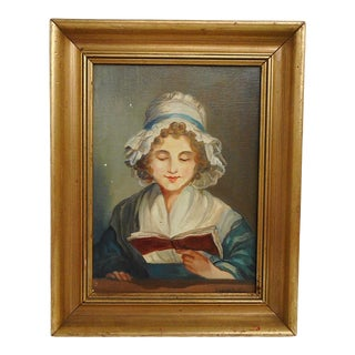 """French """"Classic Lady Reading"""" Oil Painting on Canvas by R. Laigneau For Sale"""