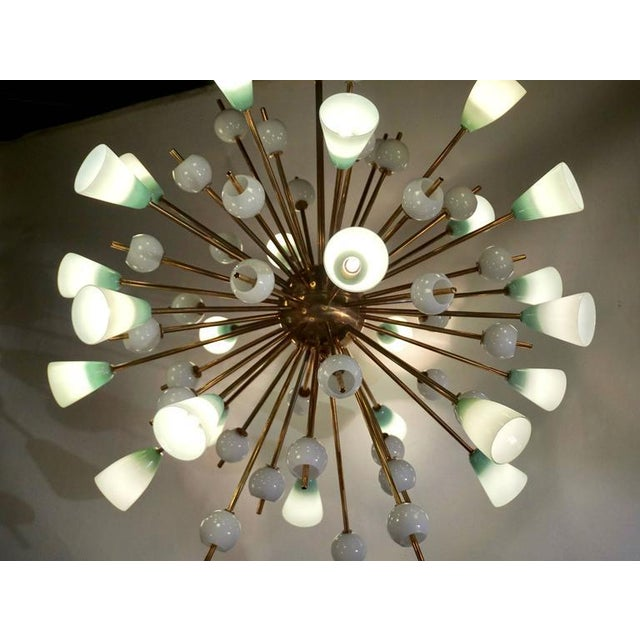 Not Yet Made - Made To Order Contemporary Italian White & Mint Green Murano Glass Sputnik Brass Chandelier For Sale - Image 5 of 8